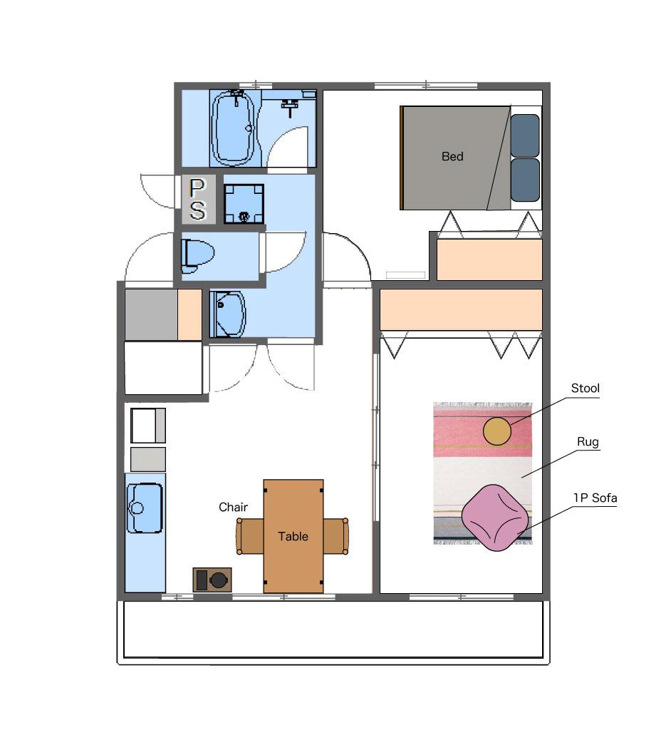 画像:subsclife(サブスクライフ)でレンタルしている家具・家電のレイアウト